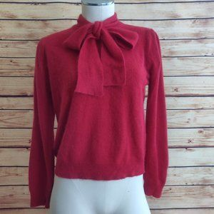 Candy Apple Red Vintage Tie Neck Sweater